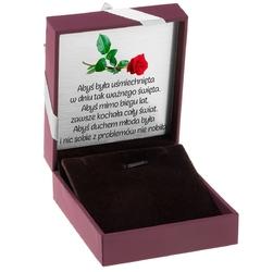 Pudełko na biżuterię bordowe ze srebrną tasiemką dedykacja