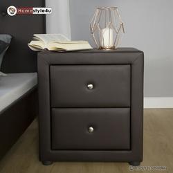 Szafka nocna brązowa 53x47x41 cm tapicerowana brązowa