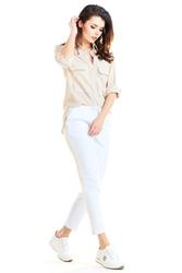 Codzienne białe spodnie z lampasami