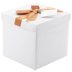Pudełko na prezent białe ze złotą tasiemką m