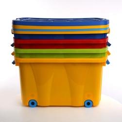 Pojemnik do przechowywania  na zabawki z pokrywą na kółkach plastikowy artgos kliper