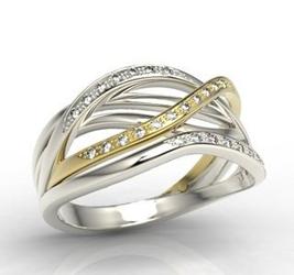 Pierścionek z białego i żółtego złota z brylantami lp-69bz