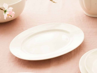 Półmisek owalny na ciasto, wędliny i zakąski porcelana mariapaula nova ecru 24 cm