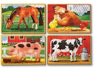 FARMA drewniane puzzle 4 w 1