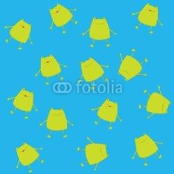 Obraz na płótnie canvas trzyczęściowy tryptyk Niebieskie tło z stylizowanymi żabami