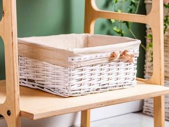 Koszyk  kosz wiklinowy do organizacji  przechowywania altom design brązowa kokardka duży