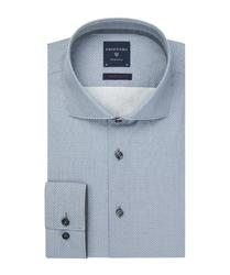Elegancka szara koszula w delikatny kwadratowy wzorek super slim fit 44
