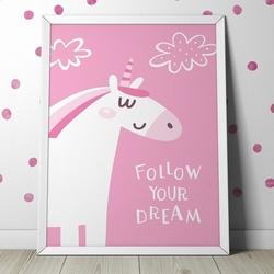 Follow your dream - plakat dla dzieci , wymiary - 20cm x 30cm, kolor ramki - biały
