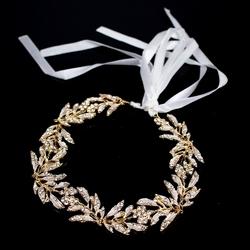 Ozdoba do włosów ślubna złota listki cyrkonie ślub