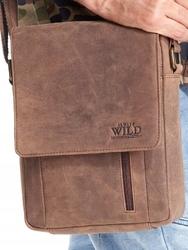 Listonoszka skórzana torba na ramię always wild czarna - ciemny brązowy
