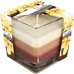 Bispol, świeca zapachowa trójkolorowa w szkle, wanilia, 1 sztuka