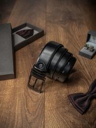 Pasek męski skórzany rovicky bom-01-art 110cm czarny - 110