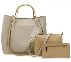 Torebka damska szara z beżowymi wstawkami | duża torebka w zestawie z listonoszką i saszetką