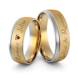Obrączki ślubne dwukolorowe z imionami i sercem z rubinem - au-990