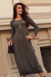 Rozkloszowana midi sukienka ze ściągaczem - khaki