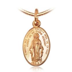 Staviori medalik. żółte złoto 0,585. szerokość 10 mm. wysokość 20 mm.   złota zawieszka  medalik z matką boską.