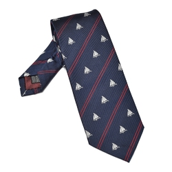 Granatowy jedwabny krawat w żaglówki