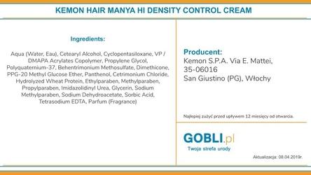 Kemon hair manya hi density control, krem zwiększający objętość włosów 200ml