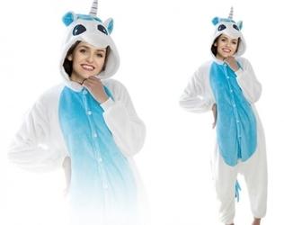 Niebieski jednorożec kigurumi onesie dres piżama kombinezon