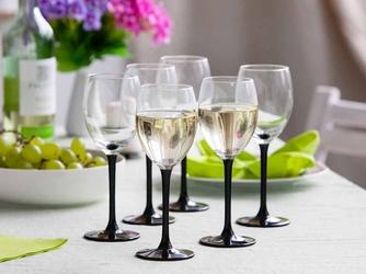 Kieliszki do wina białego altom design onyx z czarną nóżką 250 ml, komplet 6 szt.