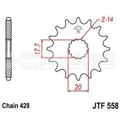 Zębatka przednia jt f558-13, 13z, rozmiar 428 2201326 yamaha dt 125, sachs zz 125