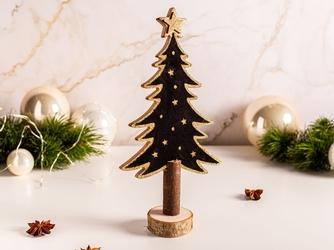 Figurka  ozdoba  dekoracja świąteczna drewniana święta boże narodzenie altom design choinka czarna ze złotym brokatem 25 cm