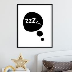 Zzzz... - plakat dla dzieci , wymiary - 30cm x 40cm, kolor ramki - biały