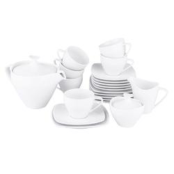 Zestaw kawowy dla 6 osób kwadratowy porcelana mariapaula moderna biała 21 elementów