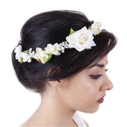 Wianek do włosów róże kwiaty biały liście ślub - biały