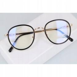Okulary lenonki filtr światła niebieskiego blue light do komputera zerówki 2548 złoto-czarne