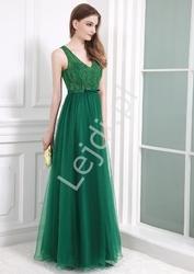 Suknia z koronką i perełkami, jasny róż 9066