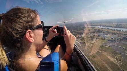 Lot szybowcem - toruń - start za wyciągarką