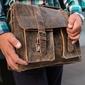 Włoska teczka skórzana vintage jasnobrązowa paolo peruzzi 045tm - j. brązowy