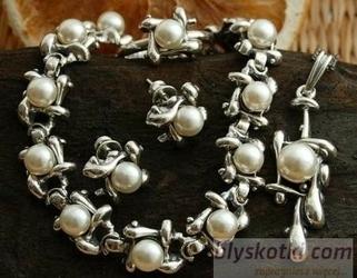 Evora - srebrny komplet z perłami