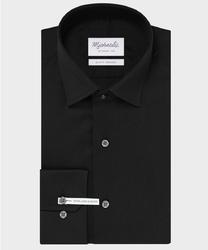 Extra długa czarna koszula michaelis z kołnierzem klasycznym 45