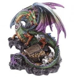 Smok pilnujący skarbu - figurka fantasy