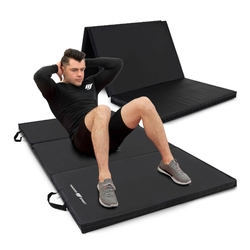 Materac gimnastyczny składany twardy z rzepami 180 x 90 x 5 cm czarny - marbo sport