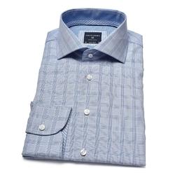 Elegancka błękitna koszula profuomo w niebieską krateczkę 38