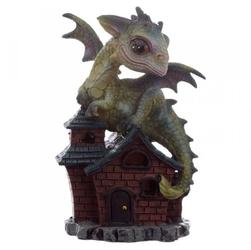 Zielony smok na domku quot;opiekun snówquot; - figurka fantasy wzór nr 1