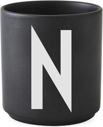 Kubek porcelanowy aj czarny litera n