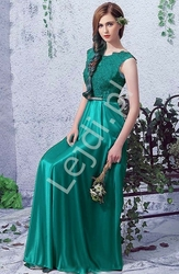 Satynowa suknia wieczorowa z koronkową górą - szmaragdowa - elza