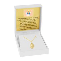 Złoty medalik owal matka boska pr 585 chrzest komunia grawer różowa kokardka - białe z różową kokardką