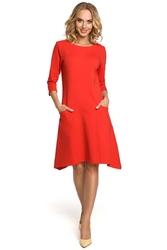 Czerwona sukienka wygodna dzianinowa z obniżonym stanem