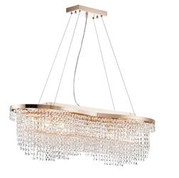 Lampa wisząca do jadalni, owalna, złota, kryształowa toils maytoni classic dia600-07-g
