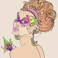 Plakat piękna młoda kobieta w karnawałowe maski