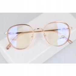 Okulary lenonki filtr światła niebieskiego blue light do komputera zerówki 2548-5 złoto-brzoskwiniowe