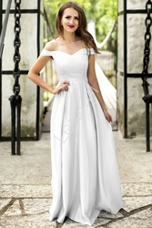 Suknia carmen z brokatowym gorsetem, biała 2111