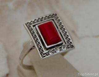 Andora - srebrny pierścionek z koralem