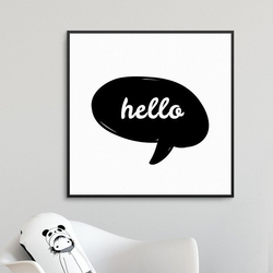 Cute hello - plakat dla dzieci , wymiary - 20cm x 20cm, kolor ramki - biały