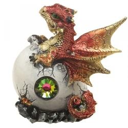 Smocze jajo z kryształem i czerwony smok - figurka fantasy